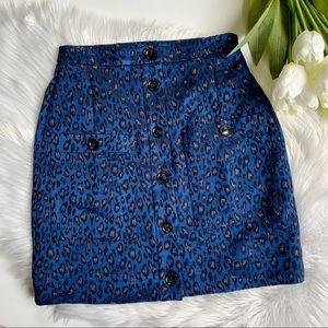 Banana Republic | Blue Silky Cheetah Print Mini